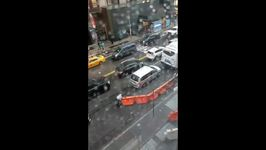 Sudden NYC Storm Blows Construction Barriers Into Traffic