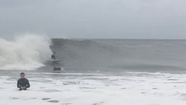 New Jersey Surfers Enjoy Giant Waves from Hurricane Jose
