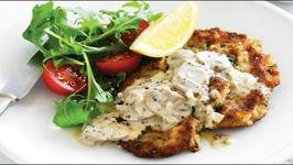 Veal Schnitzel With Creamy Mushroom Sauce