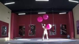 Circus Performer Shows off Impressive Juggling Skills
