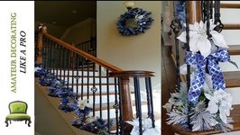 Decorating The Stairs For Christmas With Blue Garland - 3