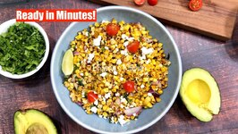 Ready In Minutes - Roasted Corn Salad With Feta Avocado Cherry Tomatoes