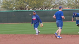 Dodgers 2017 Spring Training - Willie Calhoun, Logan Forsythe, Chase Utley field grounders