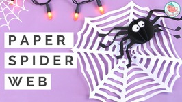 Halloween Crafts  Kirigami Spider Web w/ ONE SHEET of Paper & Paper Spider Collab w/ Red Ted Art