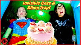 Wonder Woman vs SuperGirl Invisible Cake and Evil Slime Bath Trap SuperHero Girls Hope And Eden SHK