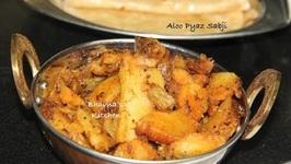 Pressure Cooked Dry Aloo Pyaz Sabji - Kanda Batata Nu Shaak