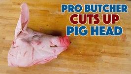 Pro Butcher Cuts Up A Pig Head