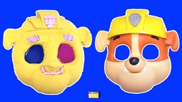 Making PAW PATROL RUBBLE with Kinetic Sand-PEZ- Slime- Mask- Surprise Toy Games - LEARN COLORS