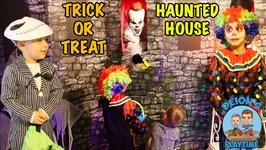 TRICK or TREAT at HAUNTED HOUSE - HALLOWEEN CANDY - DEION'S PLAYTIME