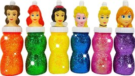 How To Make Rainbow Water Paint With Sparkle Dresses For Princess Elsa Anna Learn Colors For Kids