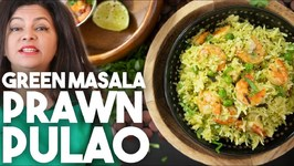 Green Masala Prawn Pulao - Coriander And Coconut Rice