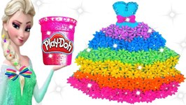 Play Doh Making Colorful Sparkle Rainbow Disney Princess Dress Frozen Elsa Play Doh Toys