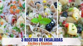 3 Recetas de Ensaladas Fáciles y Rápidas - Ensalada de Arroz, Ensalada Campera y Ensalada de Pasta