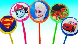 Play Foam Disney Princess Frozen Elsa Moana Surprise Eggs Lollipops Pepsi Learn Colors