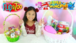 Super Wings Transformers Jet Mira Flipazoo Easter Basket Surprise Toys Family Fun Video