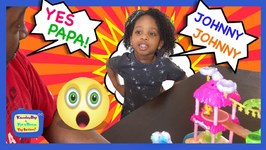 KB Dad Plays with Kyraboo's Toys  Johnny Johnny Yes Papa Children's Nursery Rhyme (skit)