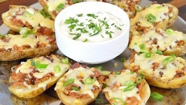 BBQ Chicken And Bacon Loaded Potato Skins- Crock Pot BBQ Chicken