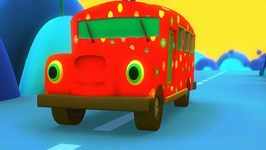 Wheels On The Bus Nursery Rhyme - Red Flower Bus