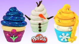 Play Doh Making Sparkle Disney Princess Frozen Elsa Ice Cream Cupcakes Dolls Food Toys For Kids