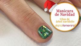 Cómo hacer una manicura glitter de árbol de Navidad - Diseño de uñas para Navidad