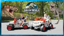 Dinosaur Escape Adventure! Dinosaur Power Wheels Races in Jurassic World - Chase and Cole Adventures