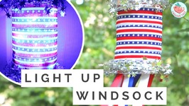 July 4th Crafts - DIY Easy Patriotic American Flag Windsock for 4th of July - Summer Decorations