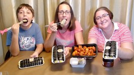 Korean Popcorn Chicken And Kimbap- Gay Family Mukbang- Eating Show