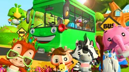 Wheels on the Bus - Green Wheels on the Bus - Kindergarten Songs for Kids