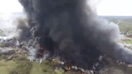 Former West Virginia Tool Plant Burns Creating Towering Plumes of Smoke