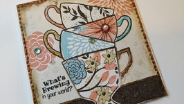 TEACUP NAPKIN GREETING CARD  PAPER CRAFTING