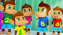 Five Little Monkeys Jumping On The Bed - 3D Nursery Rhymes Songs - Kids Tv Nursery Rhymes