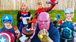 Nerf Battle Avengers Hero Kidz Vs Thanos - Pretend Play For Kids
