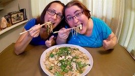 Asian Rice Noodles With Mushrooms, Tofu And Napa Cabbage -Gay Family Mukbang-Eating Show