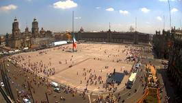 Crowds Rush into Zocalo Square After Mexico Earthquake
