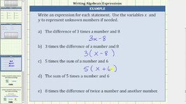 Write Algebraic Expressions from Statements - Form ax b and a(x b)