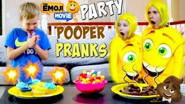 The Emoji Movie Party Pranks - Poo Emoji vs Smiler Bad Kids Nerf Attack Hope And Noah