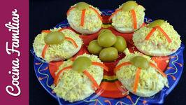 Receta de huevos rellenos con marisco y con truco - Recetas caseras