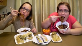 Jajangmyeon Noodles, Fried Dumplings, Kimbap And Kimchi / Gay Family Mukbang - Eating Show