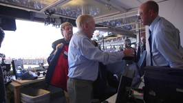 Inside Booth For Dodgers' Broadcaster Vin Scully's Final Call And Exit
