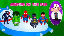 5 Little Superheroes Jumping On The Bed Finger Family Nursery Rhymes - Superheroes Collection For Kids