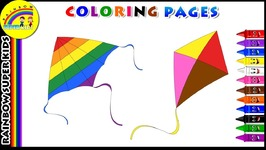 Wish You Happy Sankranti - Kite Coloring Page For Kids - Learn Colors For Children With Kite