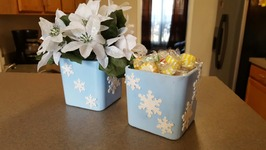 EASY DOLLAR TREE CANDY DISH - WINTER DECORATION - CHRISTMAS GIFT IDEA