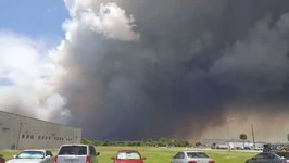 Smoke Plume From Brush Fire Turns Sky Dark Near Kennedy Space Center