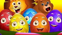 Surprise Eggs Nursery Rhymes Toys - Wheels On The Bus - Wild Animals and Animal Sounds