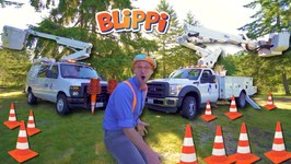 Blippi Goes Up in a Bucket Truck- Educational Machines for Kids