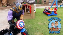 AVENGERS DEFEND MOTORCYCLE from THANOS  MCDONALD'S   DEION'S PLAYTIME