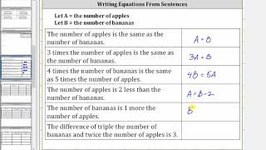 Write Basic Equations from Sentences