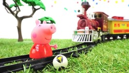 Peppa Pig in Dangerous - Train Videos and Peppa Pig Toys- Toy Story with Toy Train and Kids Toys.