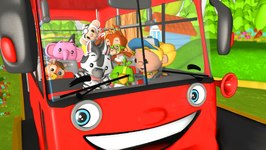 Wheels on the Bus Go Round and Round - Red Bus - English Nursery Rhyme with Lyrics