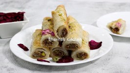 How To Make Baklava Rolls From Kawan Flaky Frozen Paratha / Puff Pastry Video Recipe